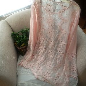 STUNNING Blush LACE Asymmetrical TUNIC By CHICO'S